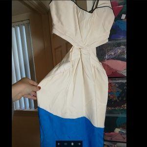 Dresses - 100% SILK white blue dress, like new